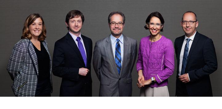 De gauche à droite : France Houle, Paul Daly, Jean-François Gaudreault-DesBiens, Marie-Claude Rigaud et Stéphane Rousseau - © Faculté de droit