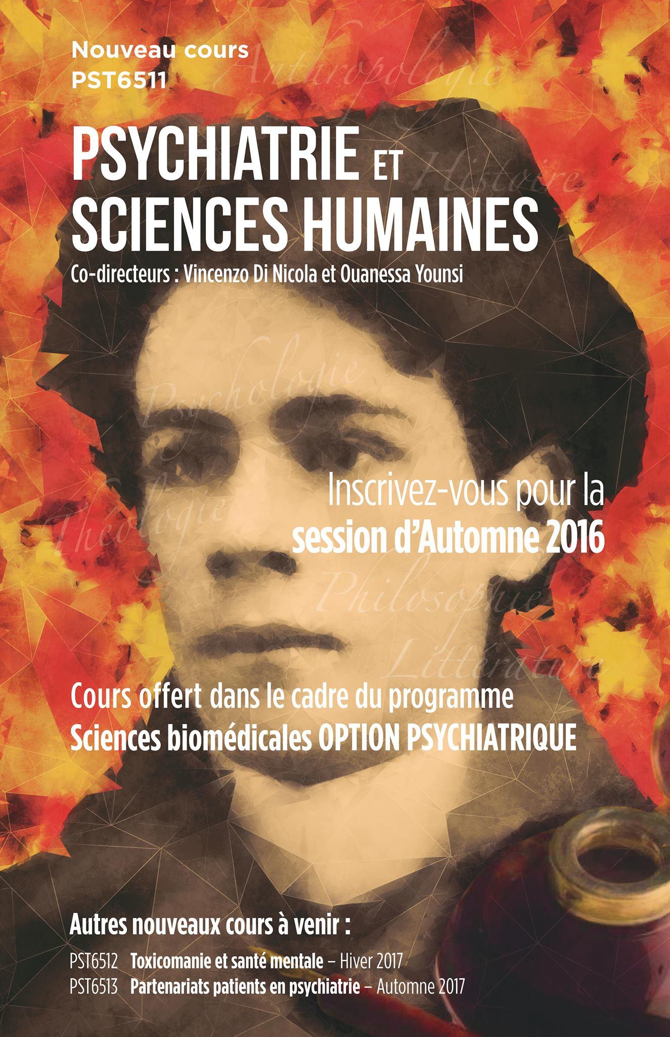Affiche pour les cours siglé Psychiatrie et sciences humaines