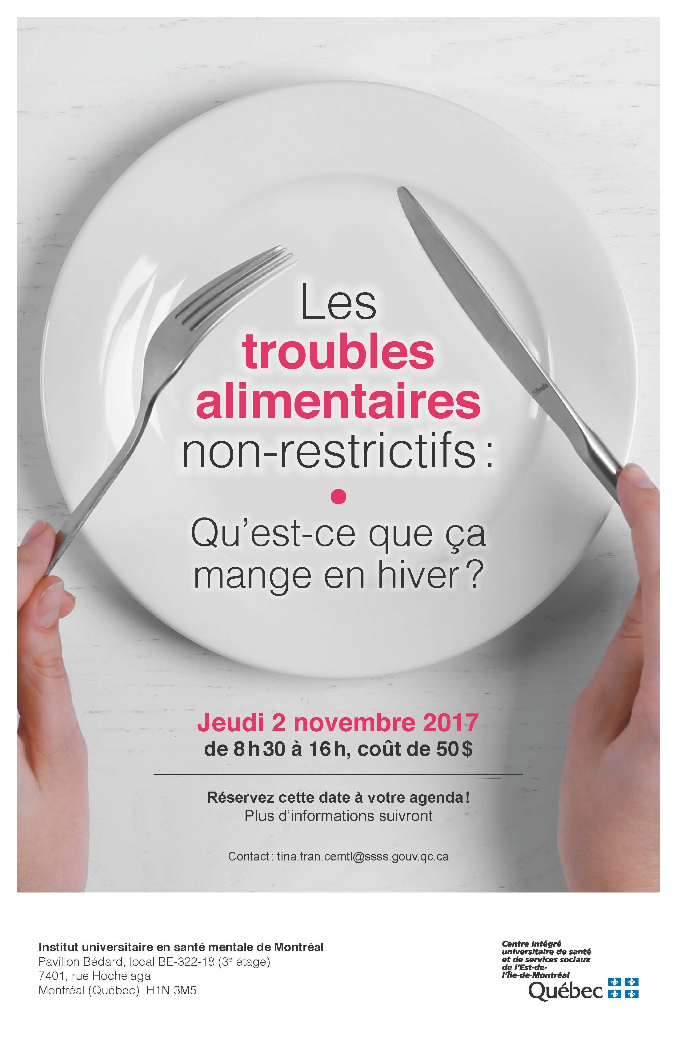 Les troubles alimentaires non-restrictifs - Colloque au IUSMM/UdeM - 2 novembre 2017 - Vincenzo Di Nicola/IUSMM/UdeM