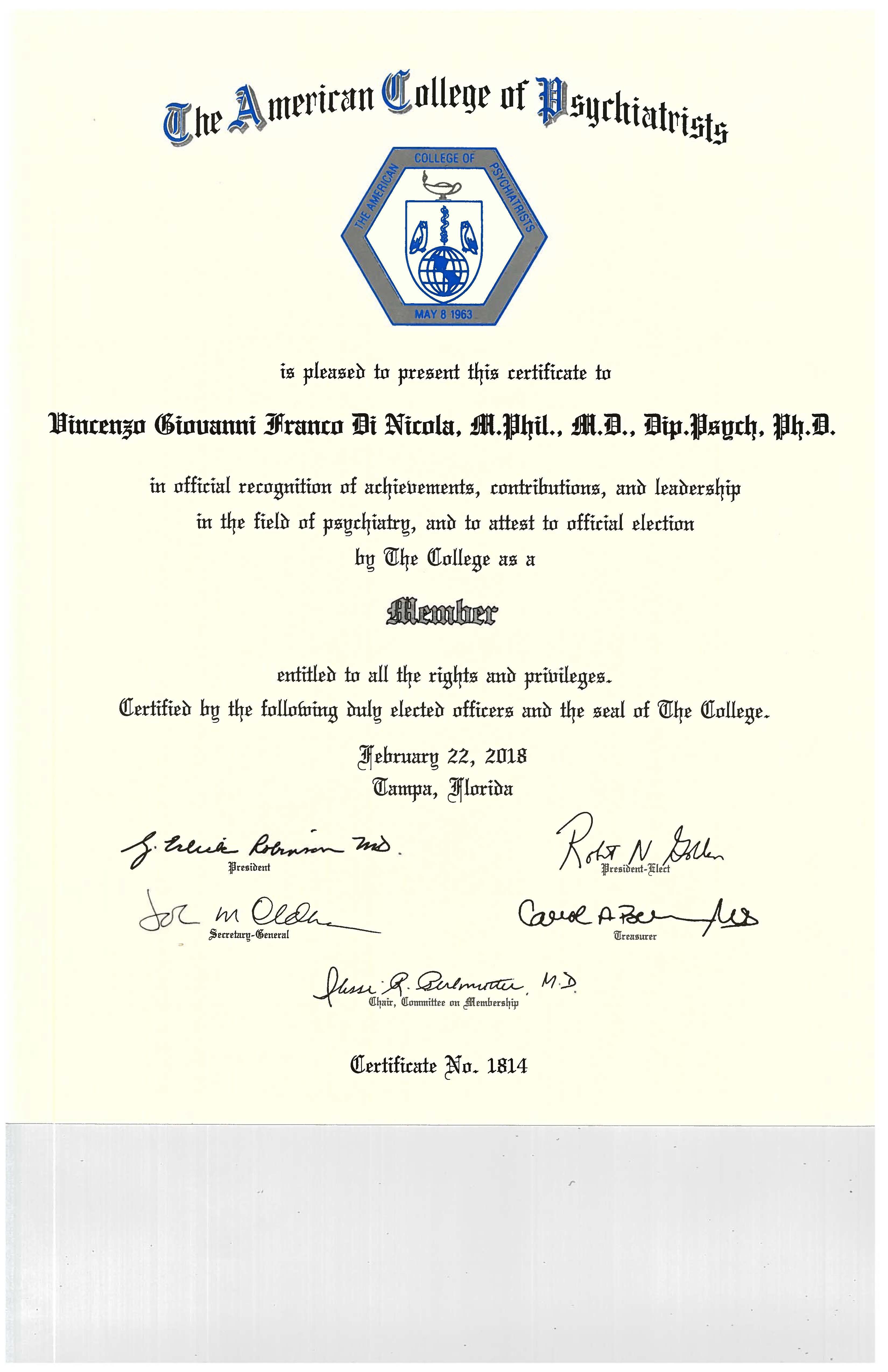 Member Certificate American College of Psychiatrists - Tampa, FL, USA - February 22, 2018 - Vincenzo Di Nicola