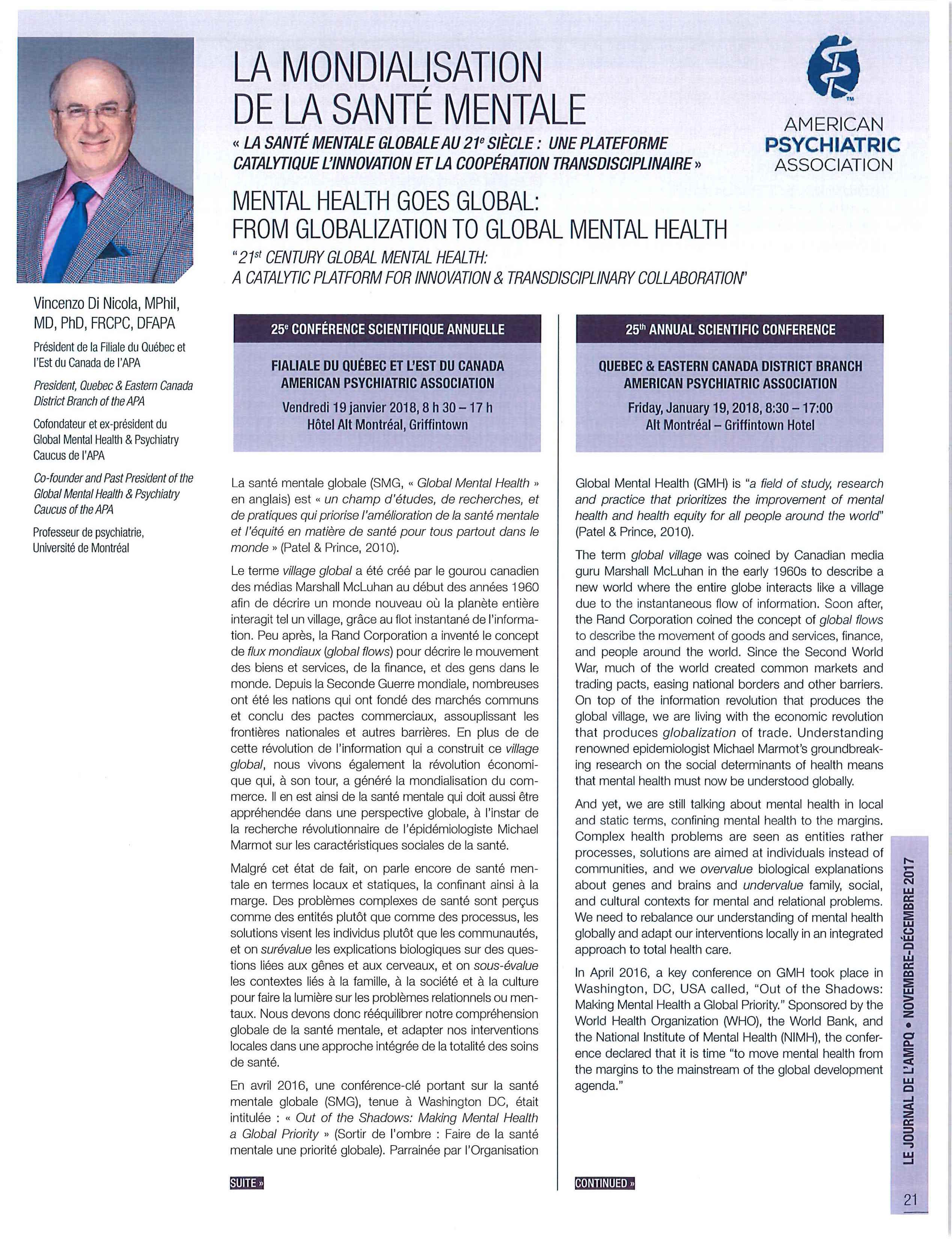 La mondialisation de la santé mentale - Le Journal de l'AMPQ - nov-déc 2017