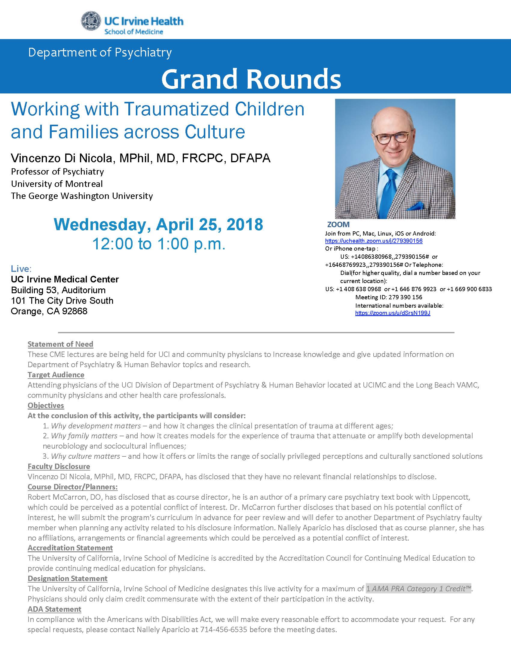 Psychiatric Grand Rounds - University of California-Irvine - 25.04.2018 - Vincenzo Di Nicola