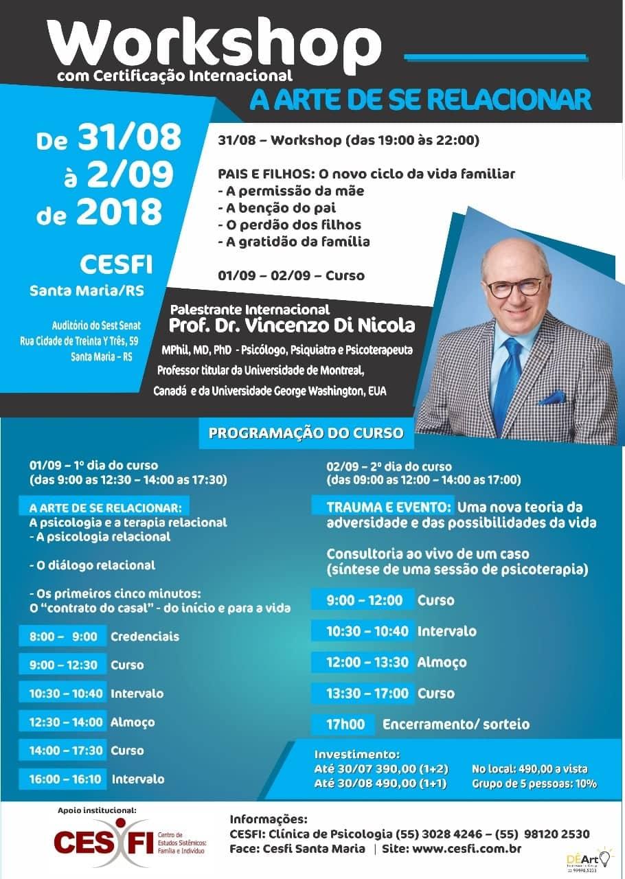 Workshop & Curso internacioanal - A ARTE DE SE RELACIONAR - Santa Maria/RS, Brésil - 2018 - Vincenzo Di Nicola