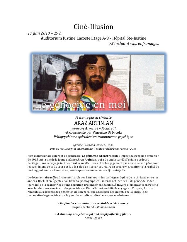 Affiche pour le présentation du filme Le Génocide en Moi avec un entretien avec le cinéaste Araz Artinian pour Ciné-Illusion juin 2010 - V Di Nicola
