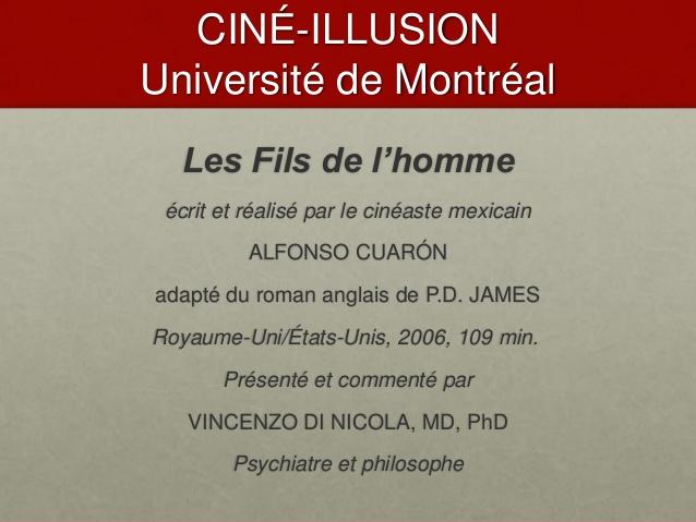 Affiche de la présentation du filme Les Fils de l'homme par V Di Nicola au Ciné-Illusion juin 2014 - V Di Nicola