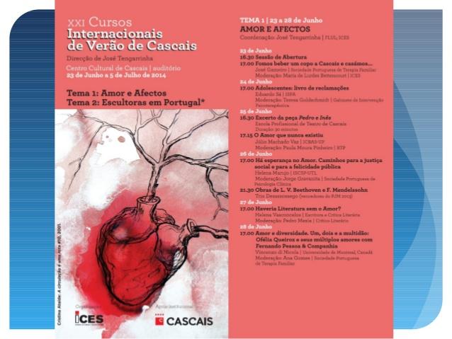 Présentation aux XXIe Cours internationaux d'été de Cascais (Portugal) : Amour et sentiments - juin - juillet 2014 - V Di Nicola