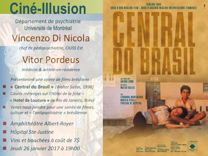 """Présentation du film brésilien """"Central do Brasil/Central Station"""" au Ciné-Illusion - 26 janvier 2017"""