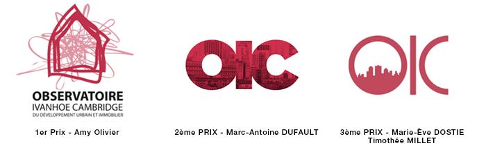 Suite à son changement de nom, l'OIC a changé son identité graphique et a lancé un concours étudiant pour trouver un nouveau logo à l'hiver 2013. Le concours était ouvert à tous les étudiants de la Faculté de l'Aménagement de l'Université. L'Observatoire a reçu 24 propositions. - © 2013 OIC