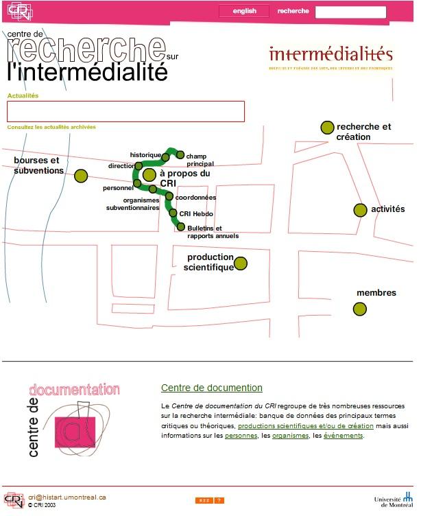 Capture d'écran du site du Centre de recherche sur l'intermédialité. Archive du CRIalt.