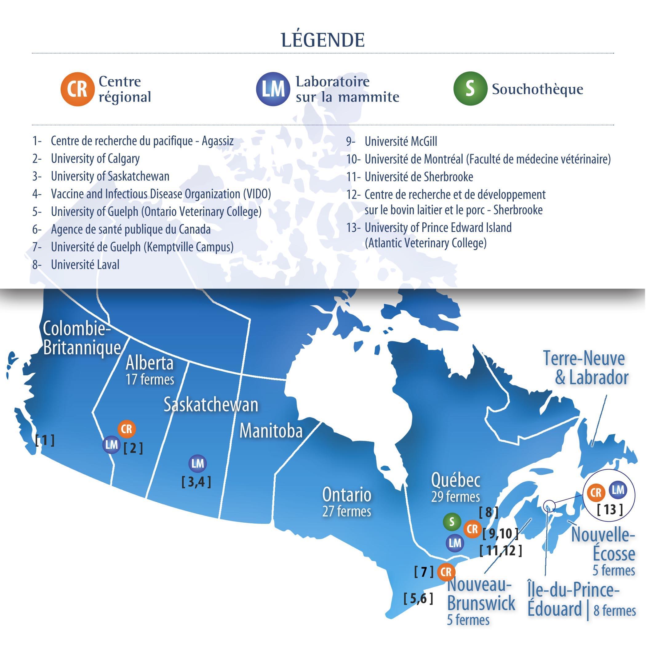Les activités de recherche du Réseau sont réalisées dans plusieurs universités et centres de recherche à travers le Canada. - © RCRMBQL