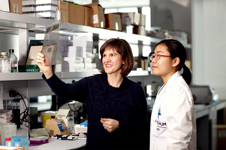 Marie-Josée Hébert dans un laboratoire du Centre de recherche du CHUM, en compagnie de Bing Yan, étudiante au doctorat en biologie moléculaire. - © 2014 CRCHUM